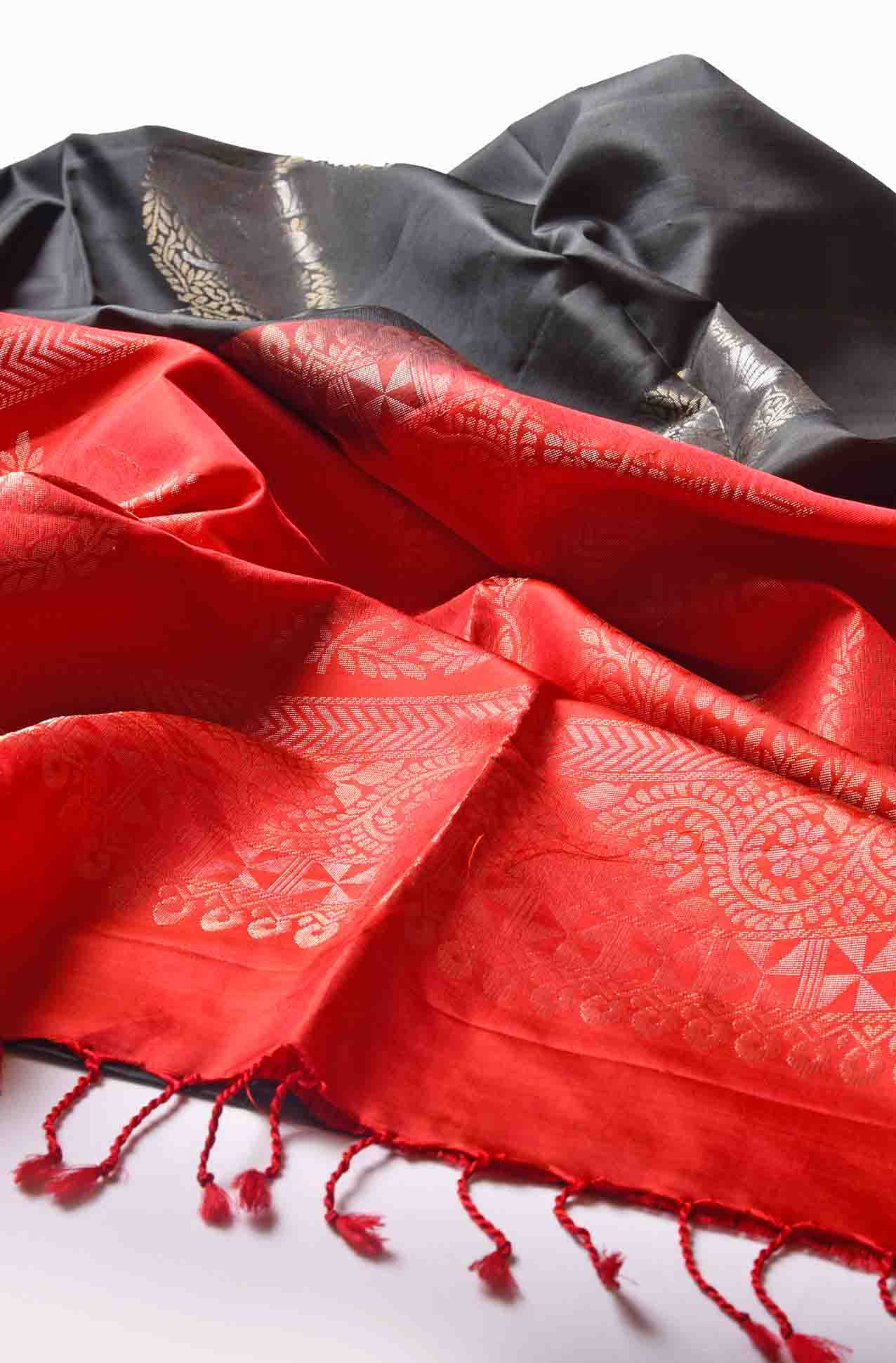 Black with Red Fancy Soft Silk Saree