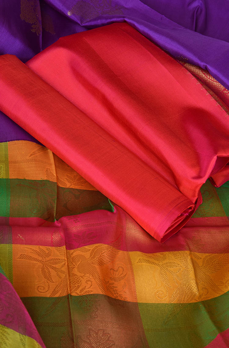 Multi Color Half and Half Kanchipuram Pure Silk Saree - Classy Look Colors and Silver Design
