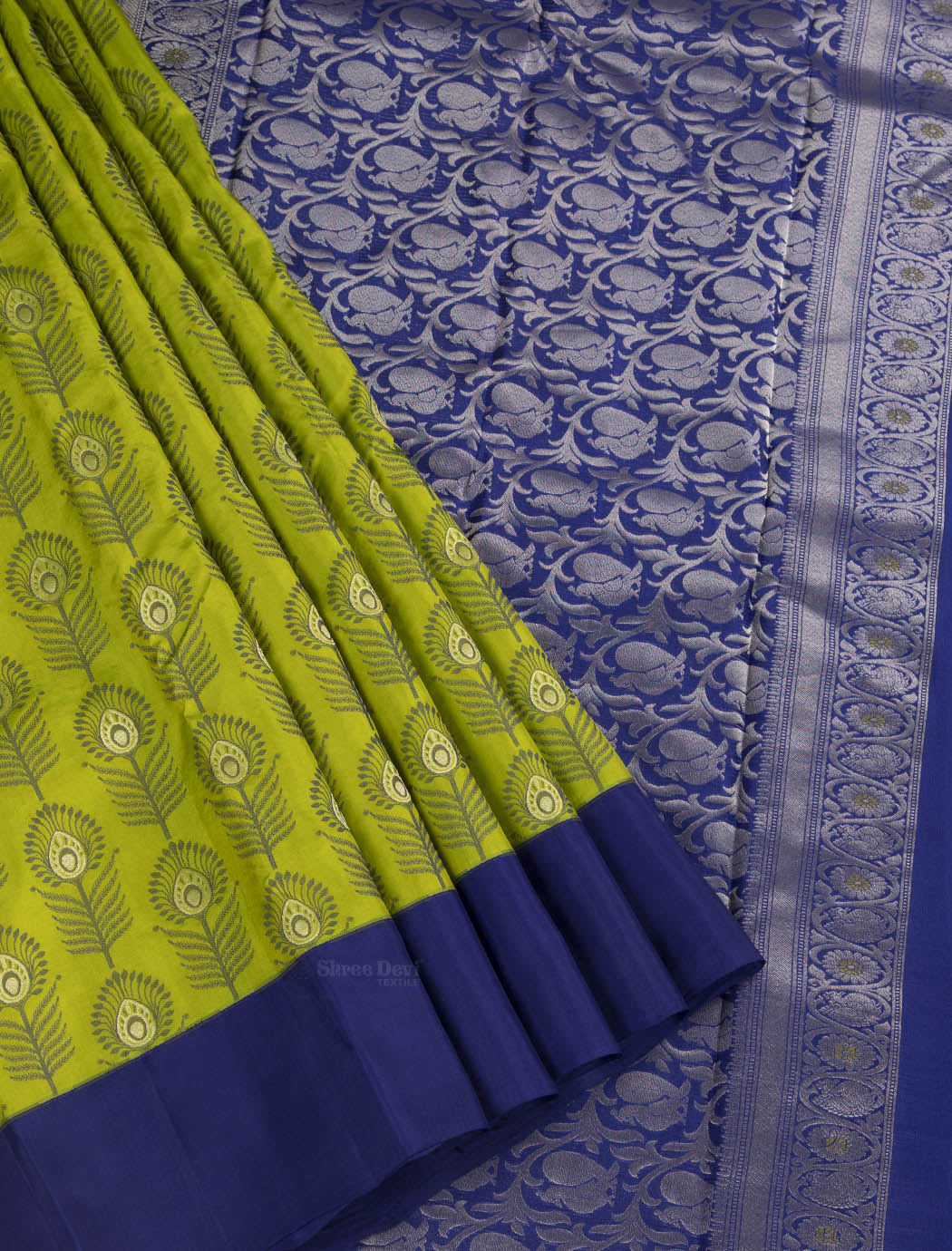 Pistachio Green Pure Soft Silk Saree with Peacock Feather Pattern