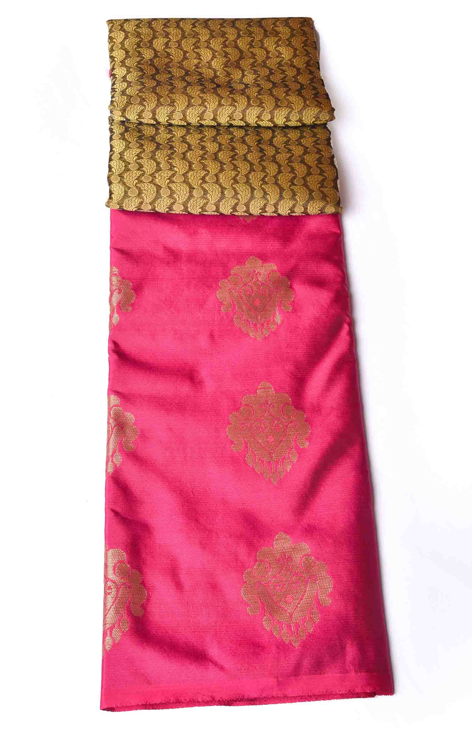 Honey Brown with Pink Organza Saree
