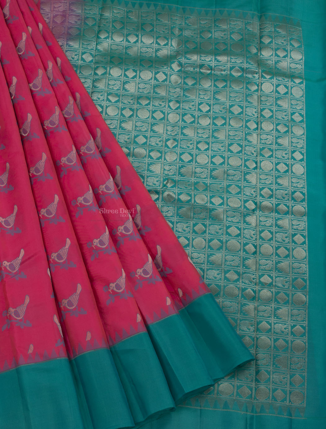 Ruby Pink and Blue Pure Soft Silk Saree