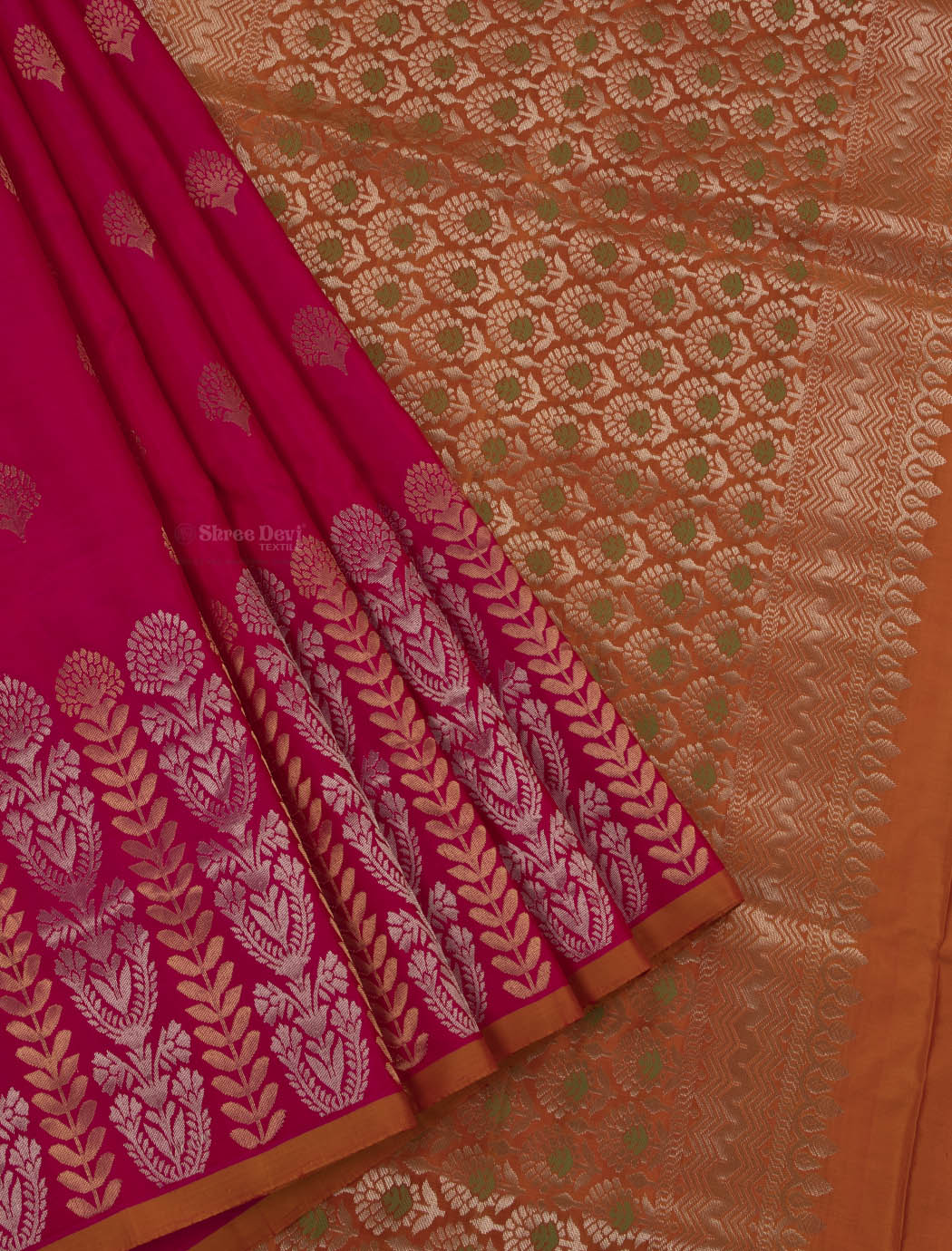 Ruby Pink Pure Soft Silk Saree with Golden and Silver Floral Zari Pattern