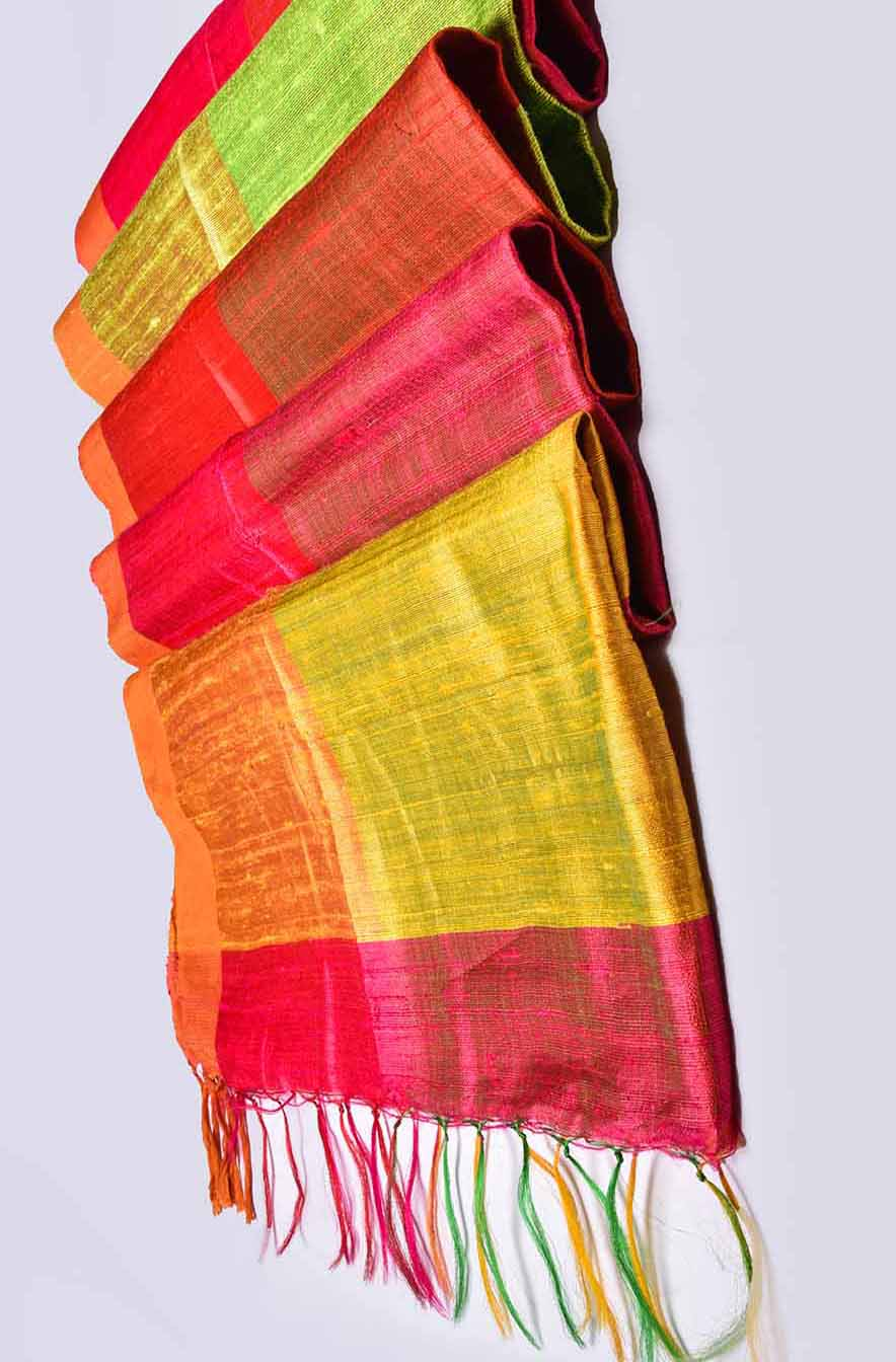 Yellow Red Green Pink Multi Colour Jute Silk Saree