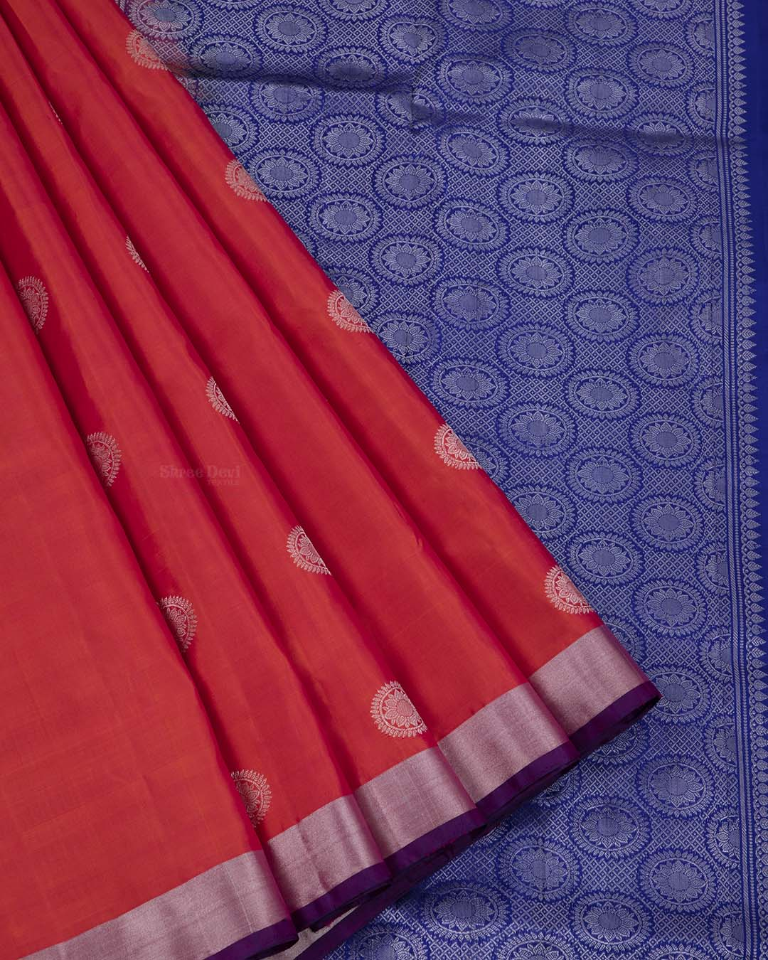 Red Orange Elite Motif Kancheevarams Silk Saree with Circle Floral Zari Motifs