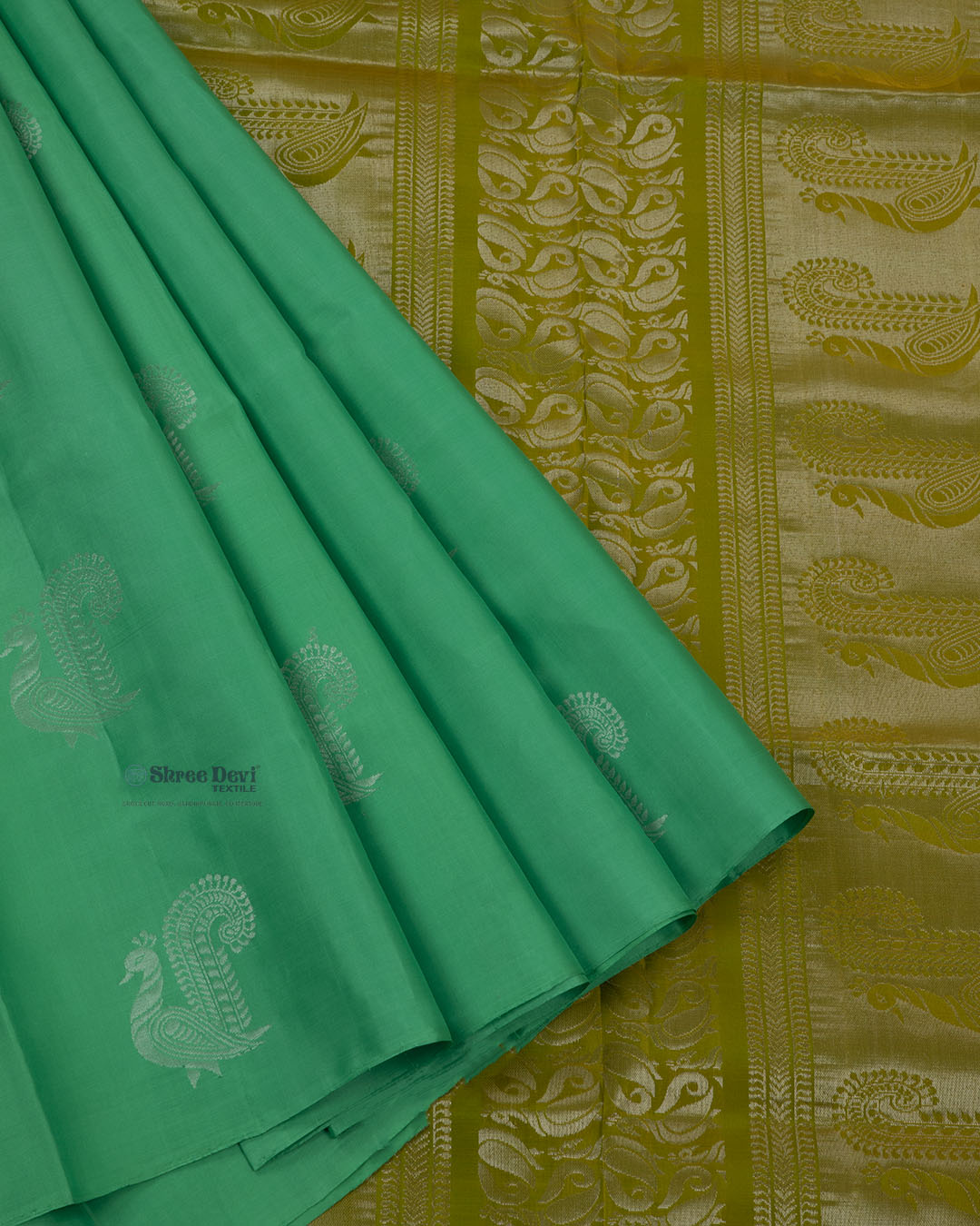Jade Green Elite Motif Kancheevarams Silk Saree