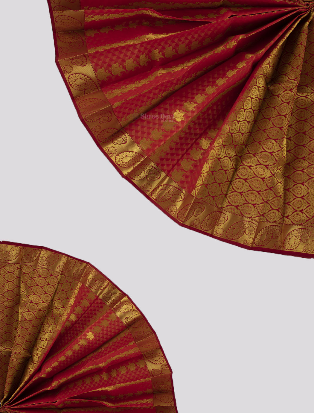 Red and Orange Combination Visiri Madippu Saree