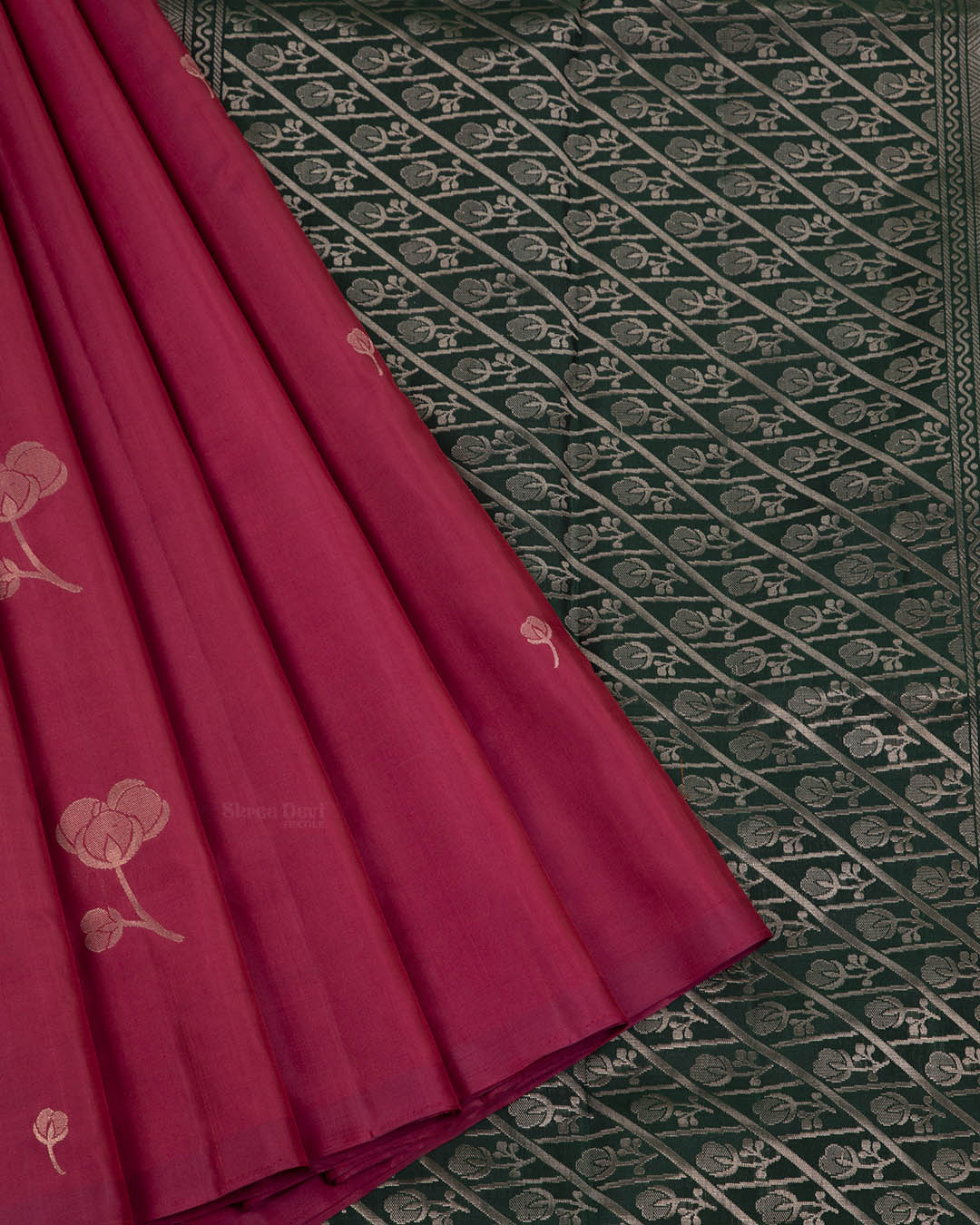 Dark Pink Elite Motif Kancheevarams Silk Saree with Floral Zari Motifs