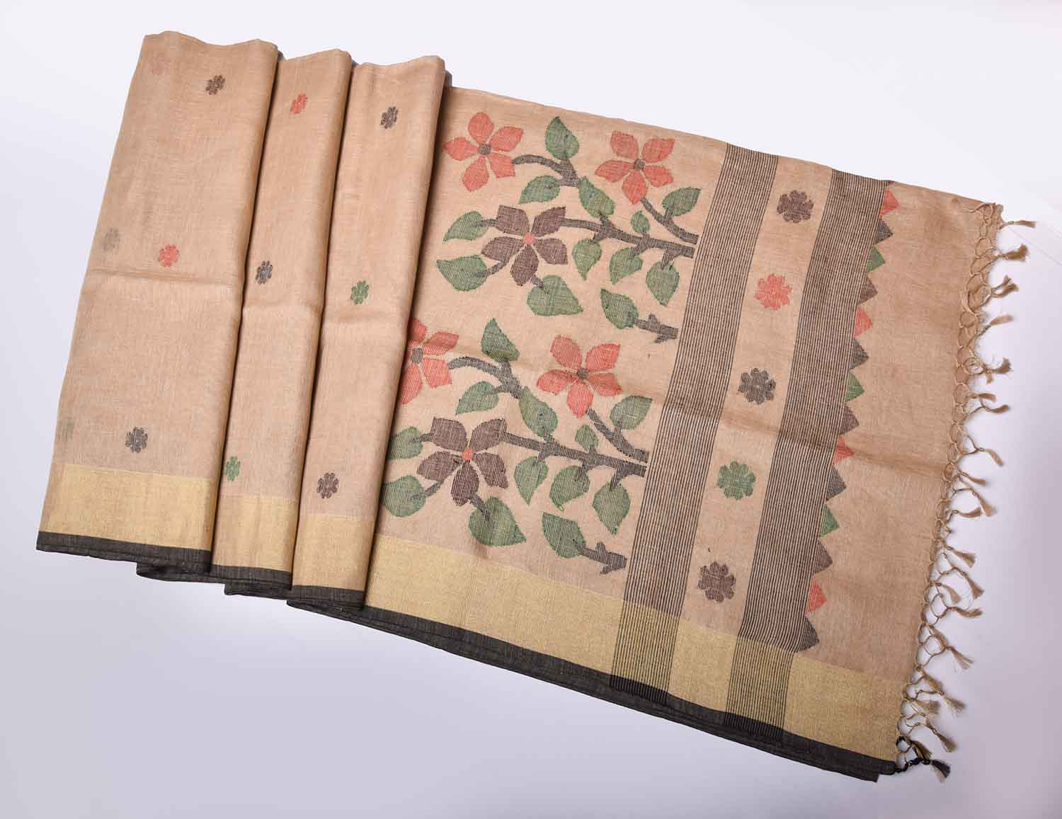 Brown with Floral Buttas Pure Handloom Dhaka Cotton Saree