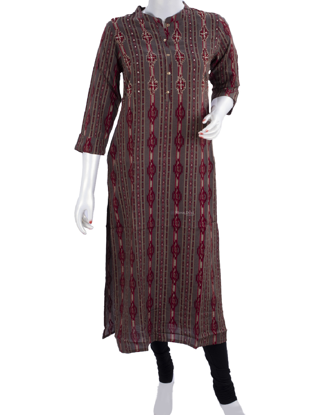 Brown Collar Kurti with Printed Design Stripes
