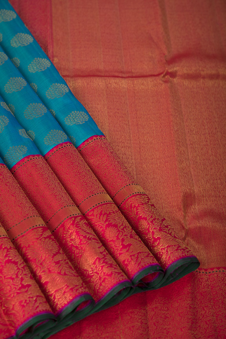 Cerulean Blue and Ruby Pink Combination Kanchivaram Pure Silk Saree