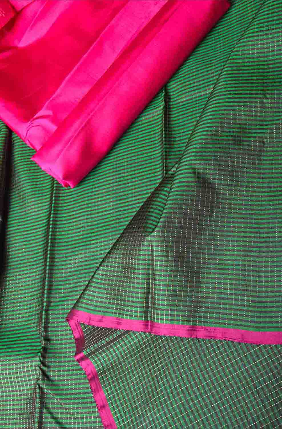 Green with Black Pure Kanchipuram Traditional Silk Saree