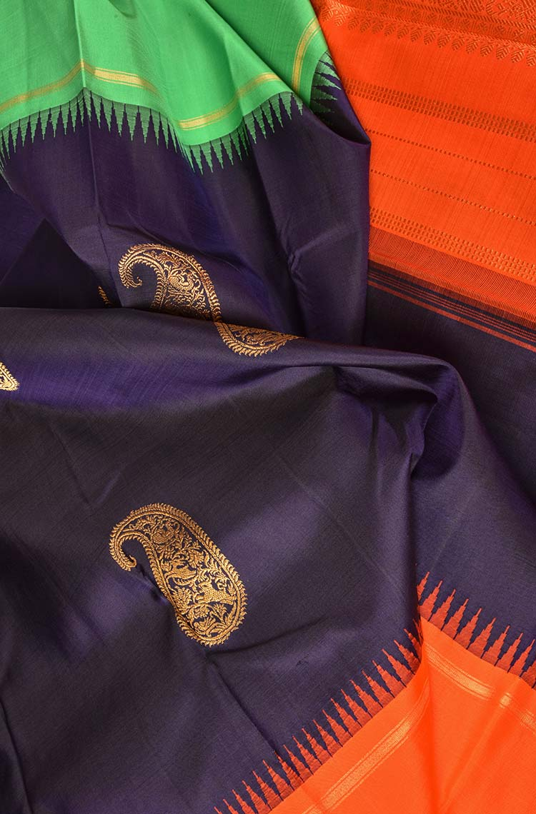 Blue with Orange and Green Border Kanchipuram Pure Silk Saree