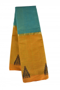 Sea Blue and Honey Orange Combination Kovai Pure Cotton Saree