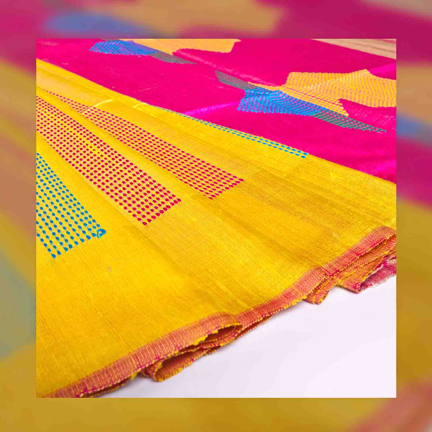 Yellow Saree with Blue and Pink Jute Saree