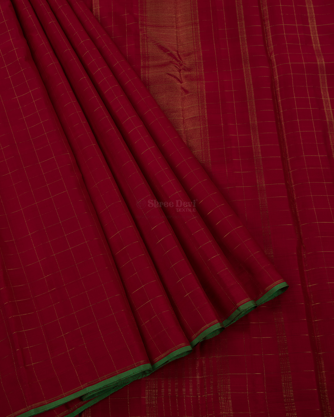 Red Kanchivaram Silk Saree with Golden Zari Checks Design