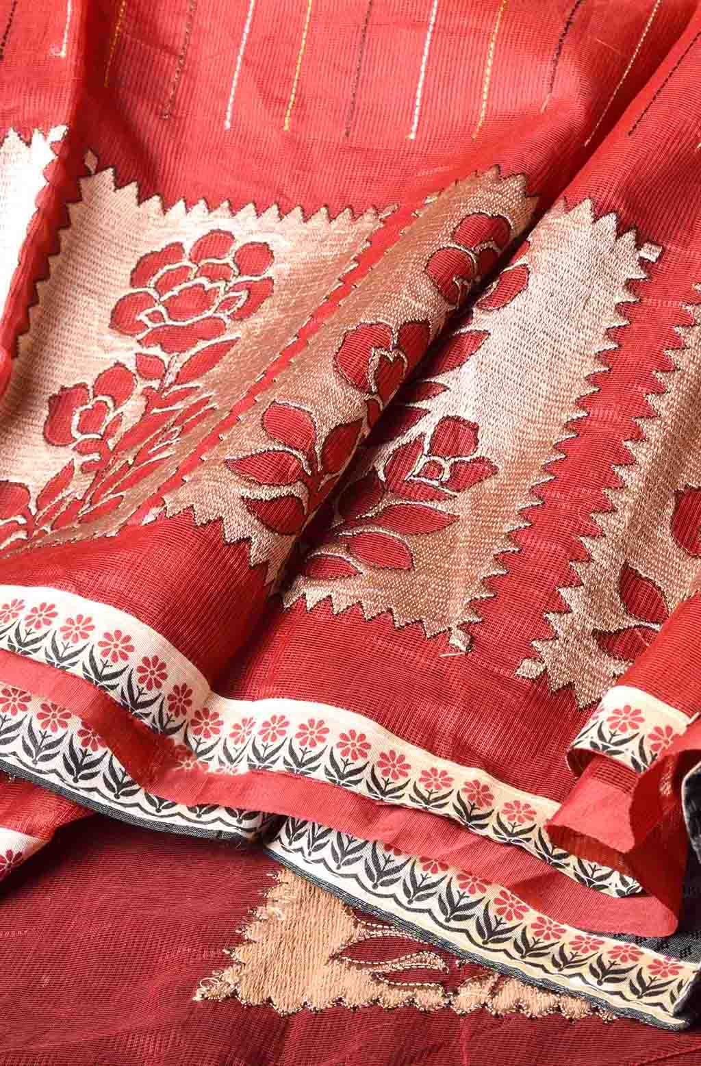 Red with Multi Colour Strips Manipuri Cotton Saree