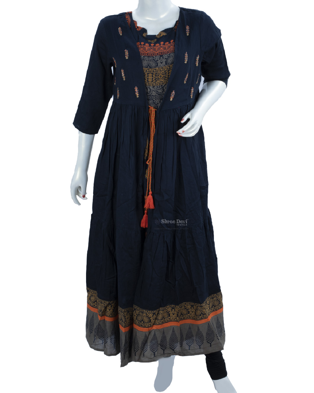 Navy Blue Anarkali Kurti with Shrug