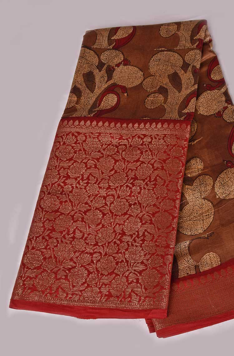 Copper Brown Antique Zari Maheswari Cotton Saree