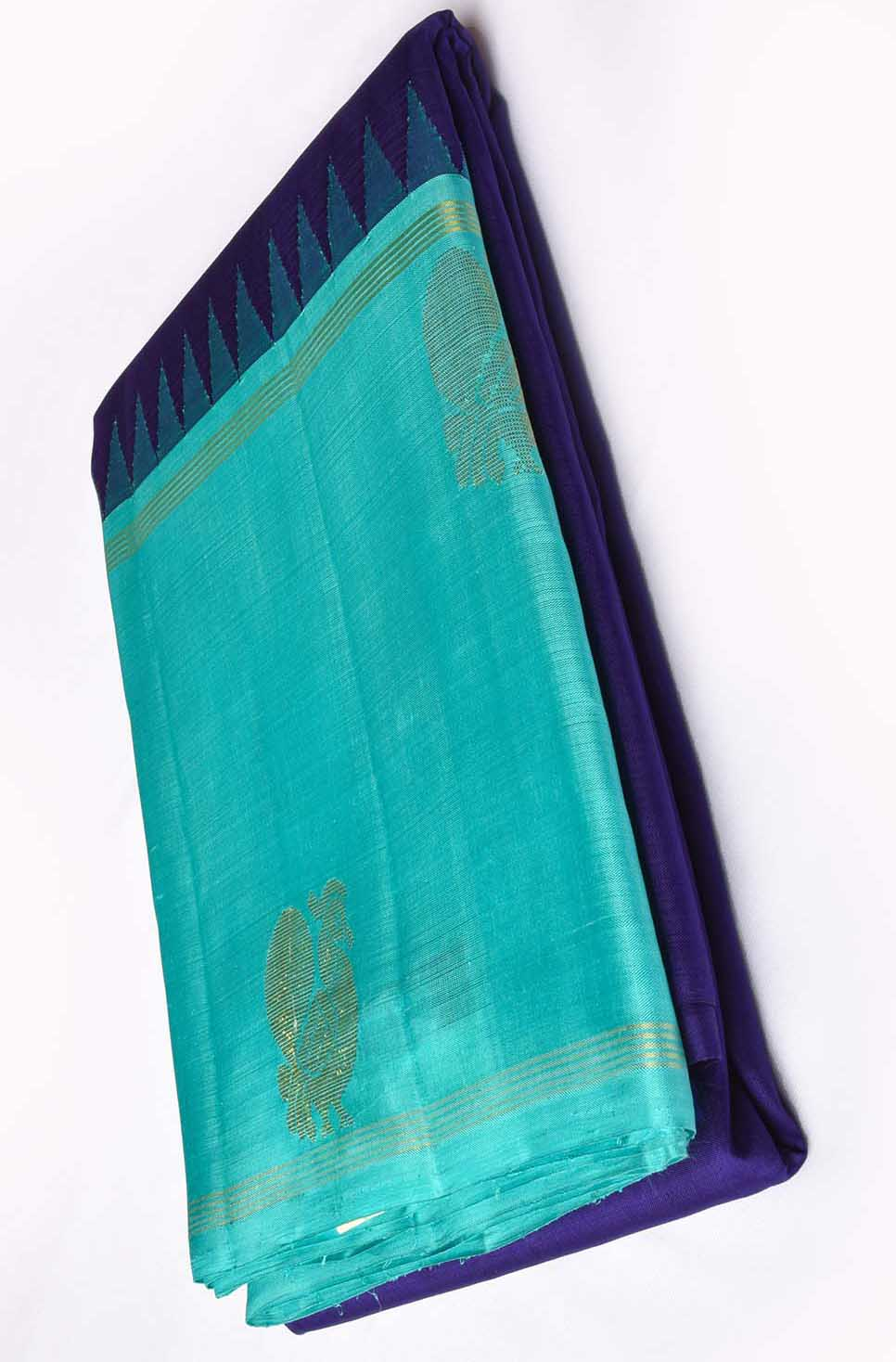 Navy Blue with Baby Blue Pure Kanchipuram Traditional Silk Saree
