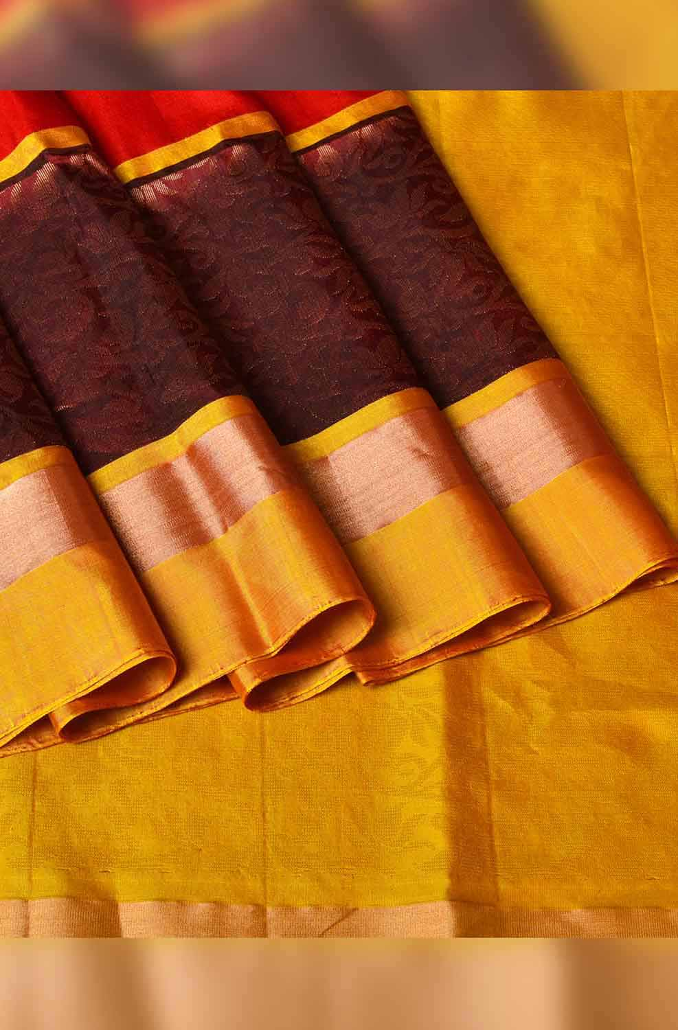 Red and Mustard Yellow with Brown Border Soft Silk Saree