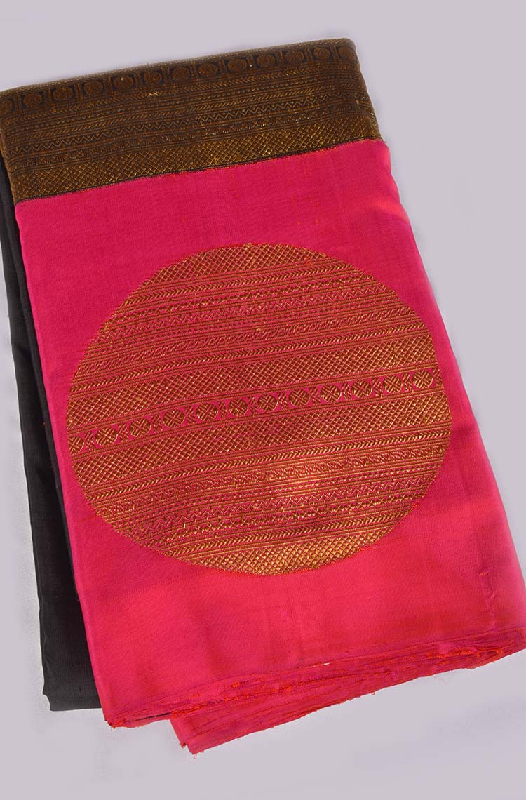 Black Kanchipuram Pure Silk Saree - Handcrafted in South Indian Culture
