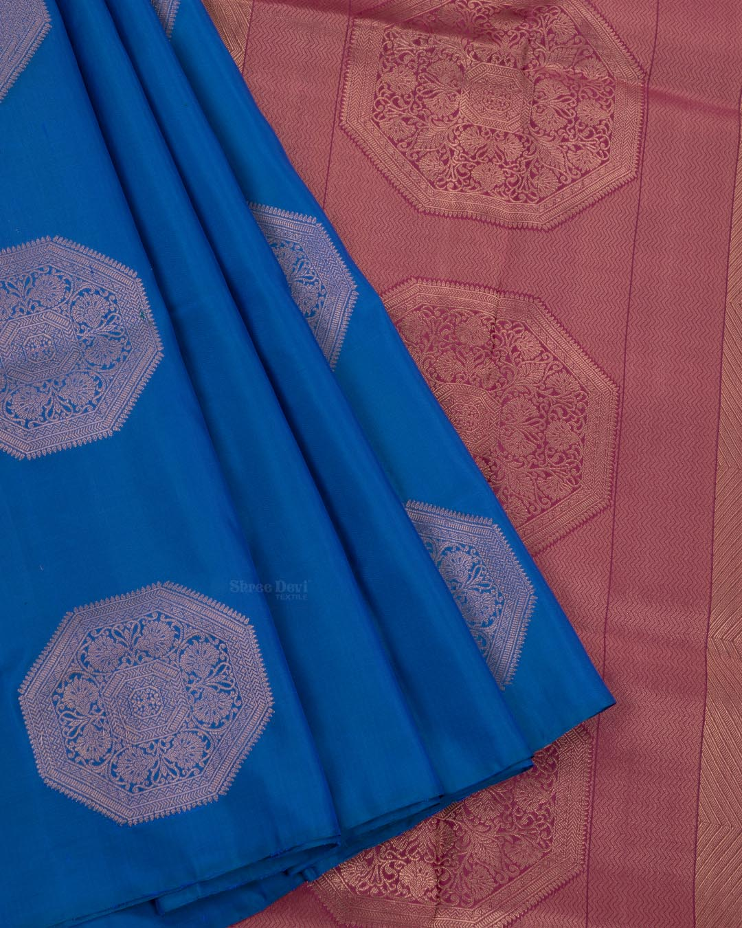 Egyptian Blue Elite Motif Kancheevarams Silk Saree with Copper Design Floral Zari Motifs