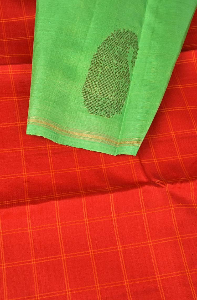 Red and Parrot Green Kanchipuram Pure Silk Saree