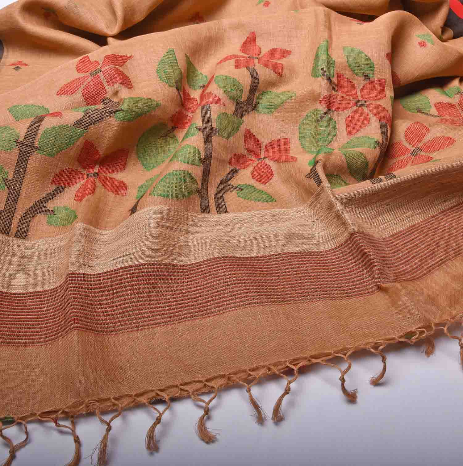 Brown with Floral Pure Handloom Dhaka Cotton Saree