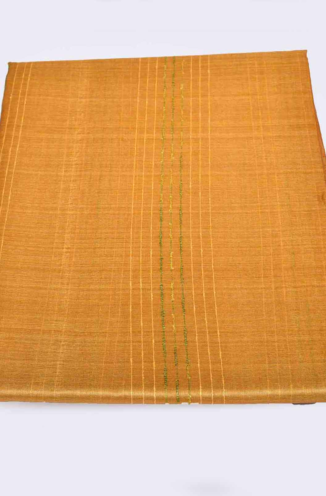 Yellow with Green Pure Tussar Saree