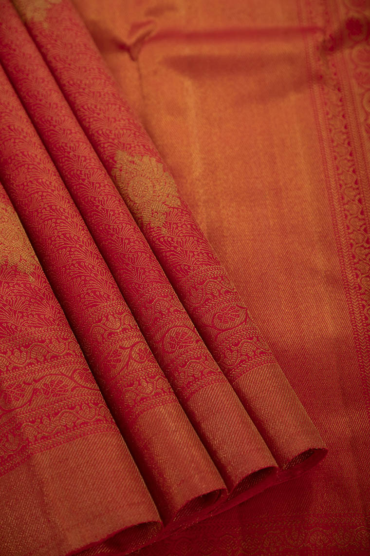 Coral Red Kanchivaram Pure Silk Saree