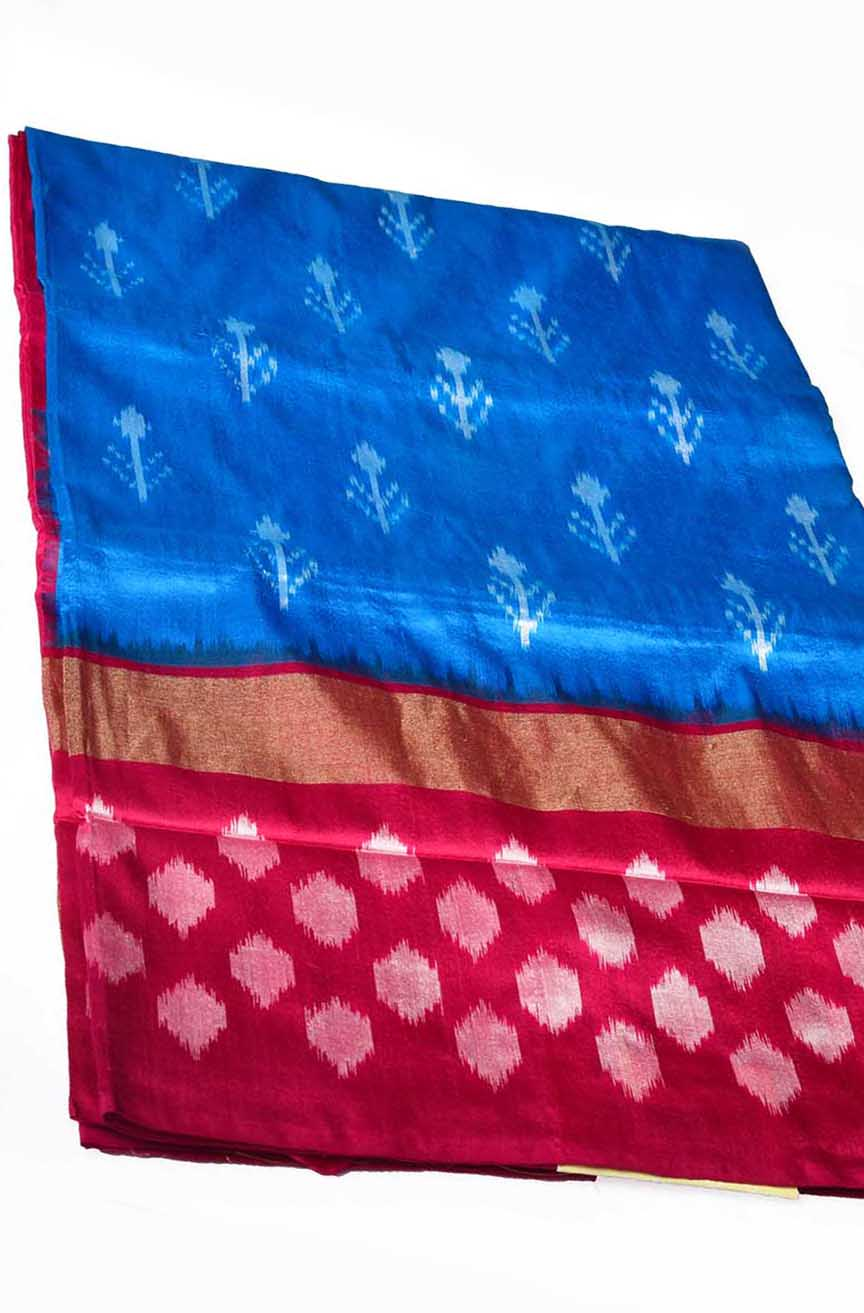 Sky Blue with Magenta Pink Ikkat Silk Saree