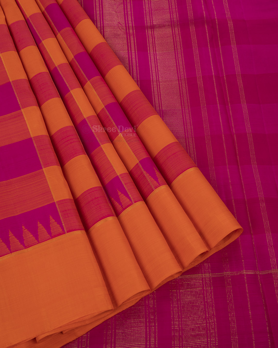 Orange and Pink Combination Kanchivaram Silk Saree