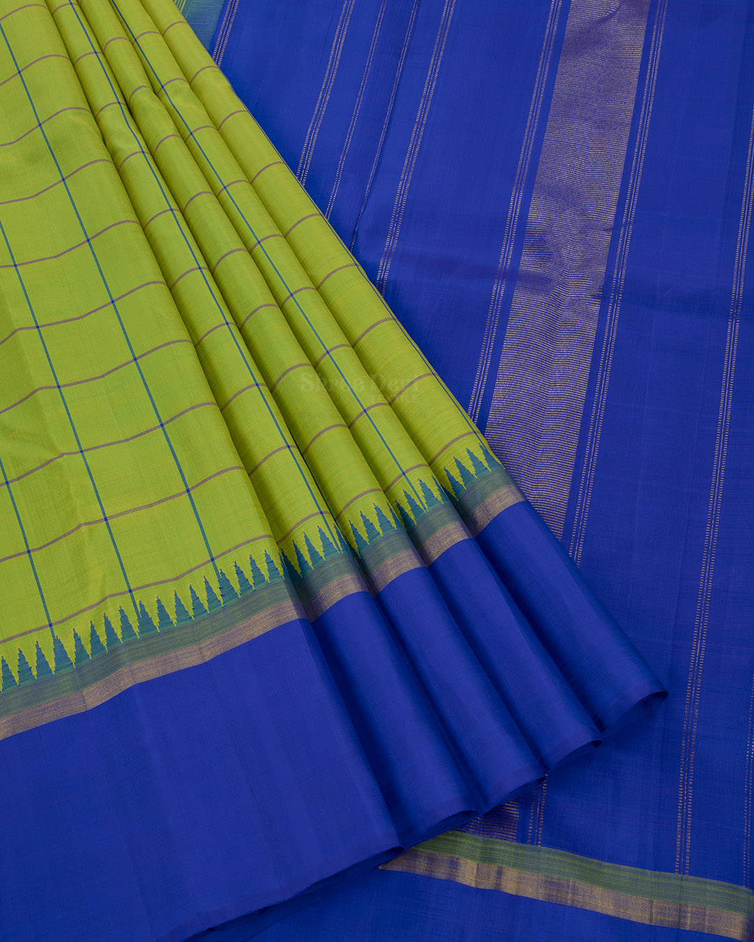 Lemon Green Kanchivaram Silk Saree with Checks and Temple Design