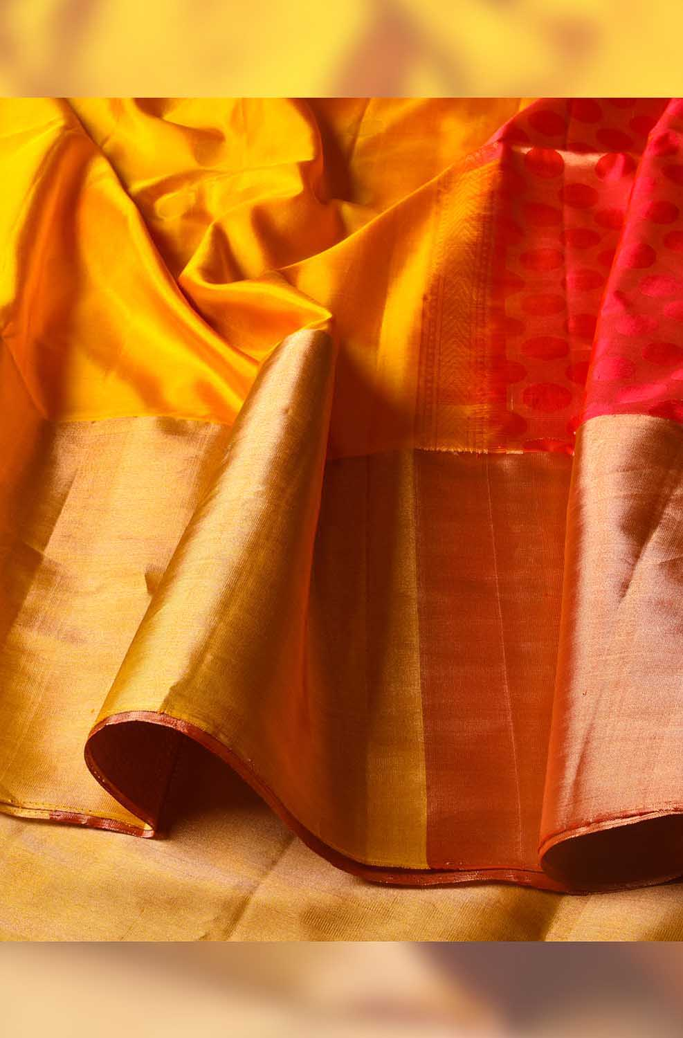 Yellow with Red Soft Silk Saree - Fancy Design with Tassels