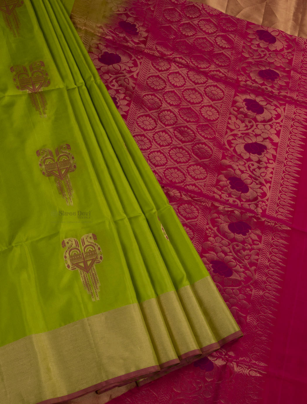 Pistachio Green Soft Silk Saree with Parrot Design