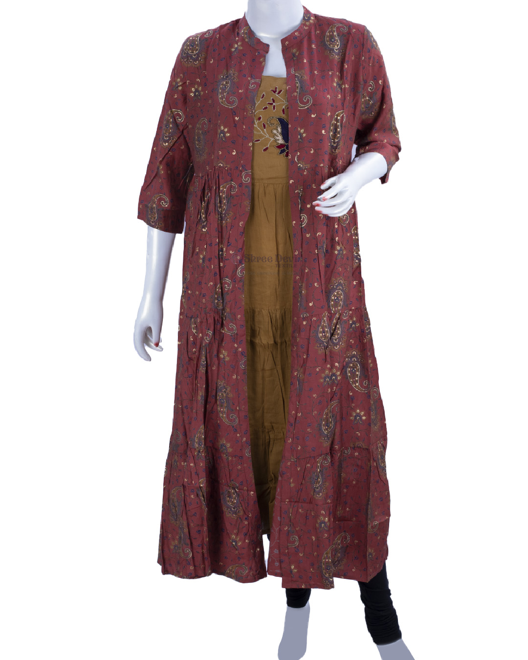 Mustard Brown Anarkali Kurti with Shrug