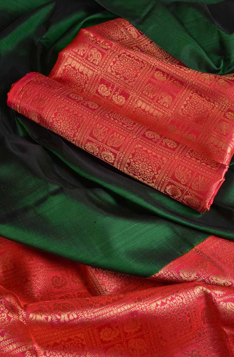 Dark Forest Green Kanchipuram Pure Silk Saree - Traditional Color and Design