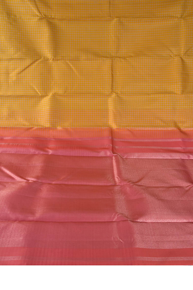 Gold Yellow and Punch Pink Kanchi Fancy Pure Silk Saree