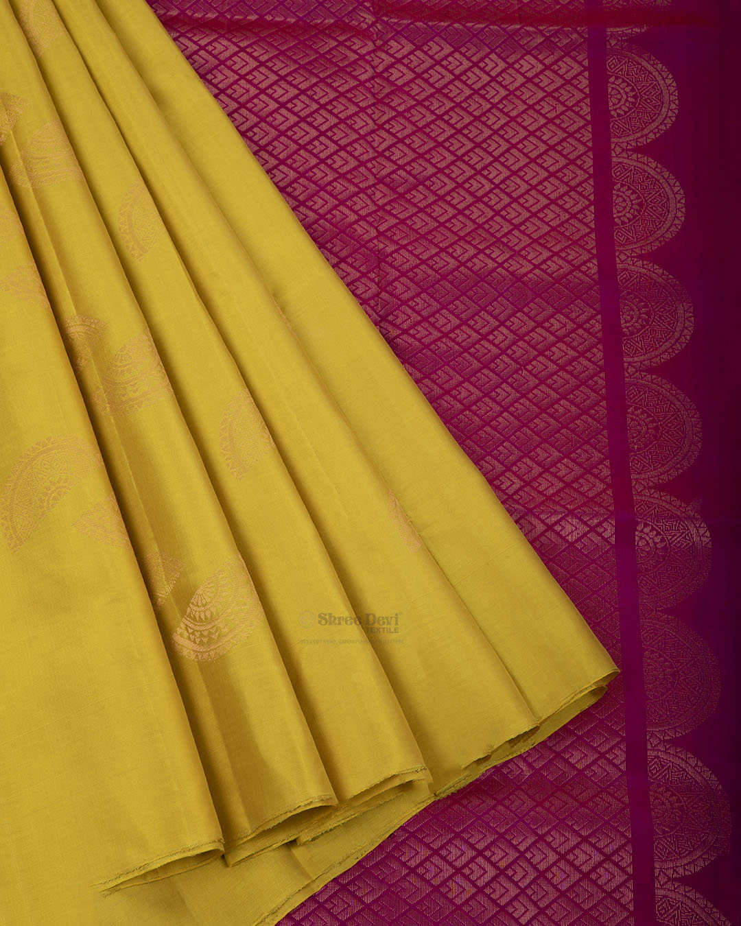 Yellow Elite Motif Kancheevarams Silk Saree with Golden Semi Circle Design Zari Motifs
