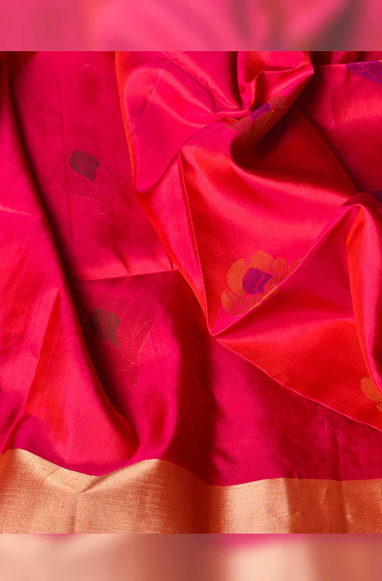 Self Embossed Floral Pink With Blue Soft Silk Saree