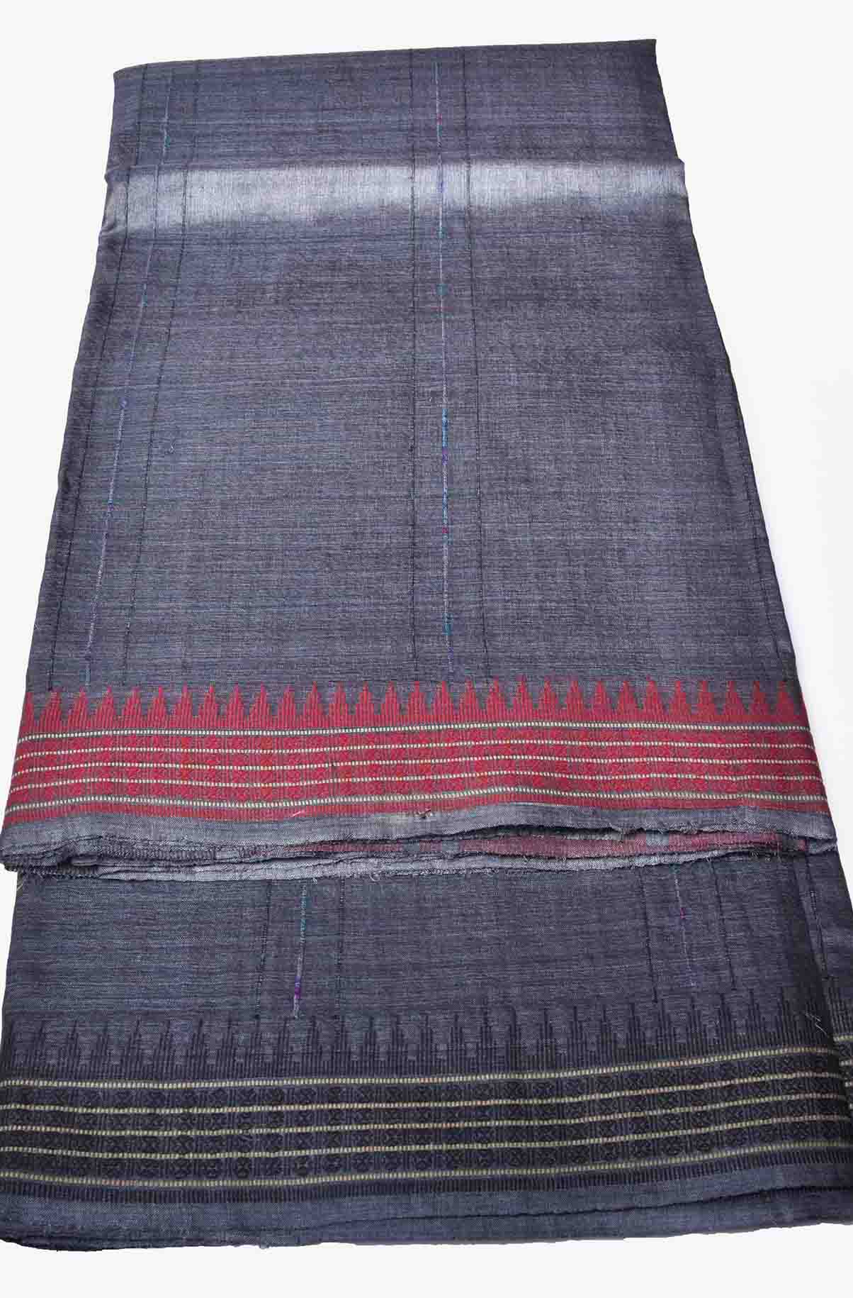 Grey with Red and Black Pure Tussar Silk Saree