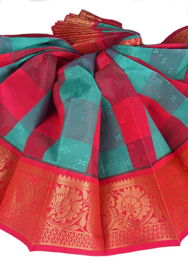 Multi Color and Ruby Pink Thirubhuvanam Handloom Visiri Madippu Silk Saree