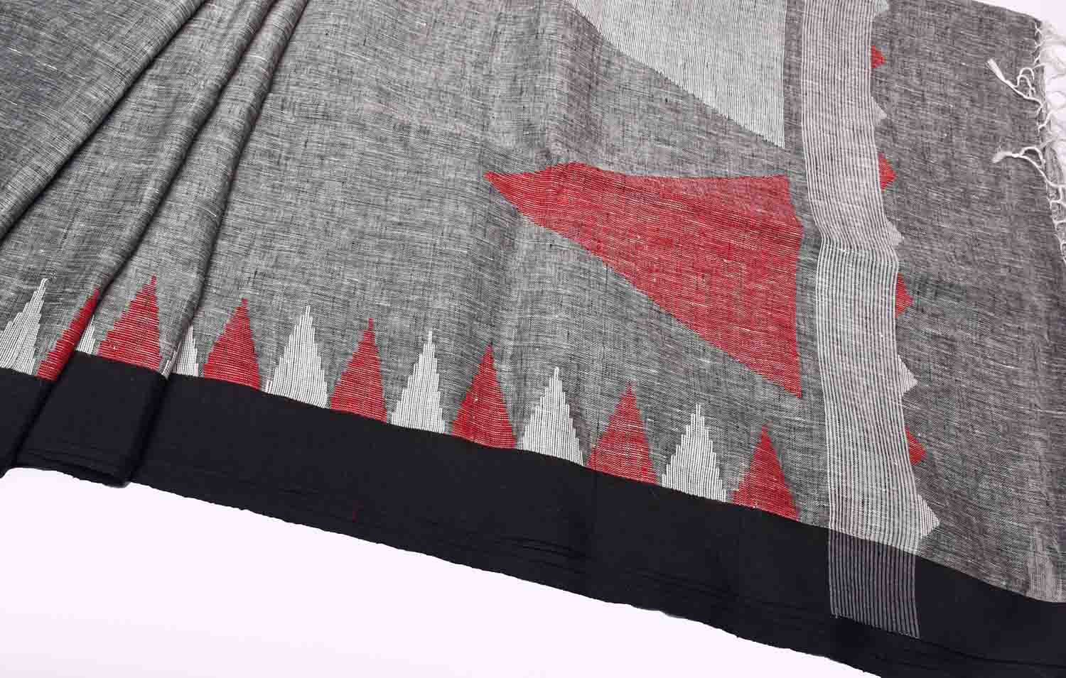 Grey with Black and Red & White Temple Pallu Pure Handloom Dhaka Cotton Saree