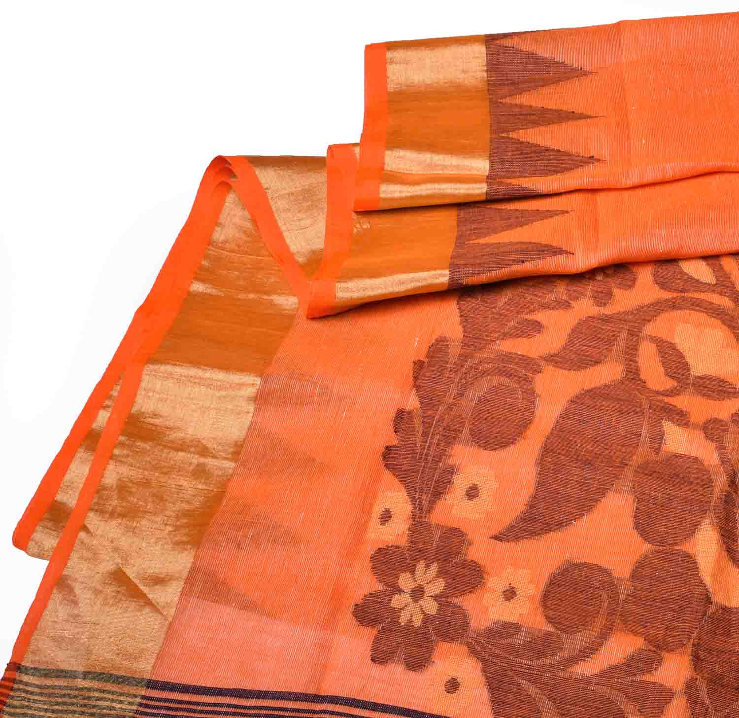 Orange with Floral Pure Handloom Dhaka Cotton Saree