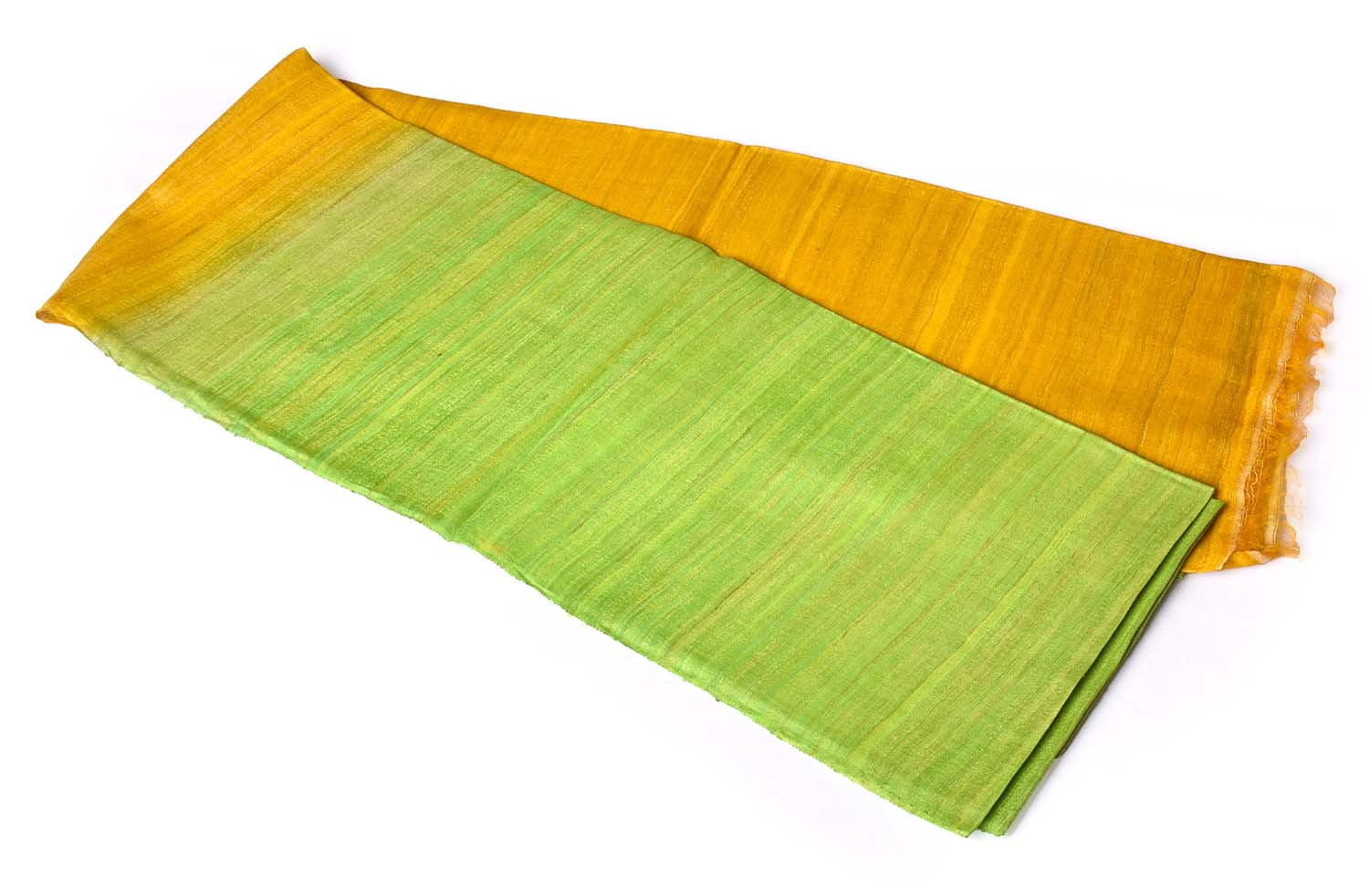 Yellow with Pista Green Without Border Jute Saree.
