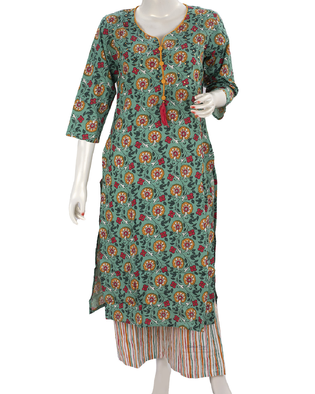 Green Top and Palazzo Set with Printed Floral Design