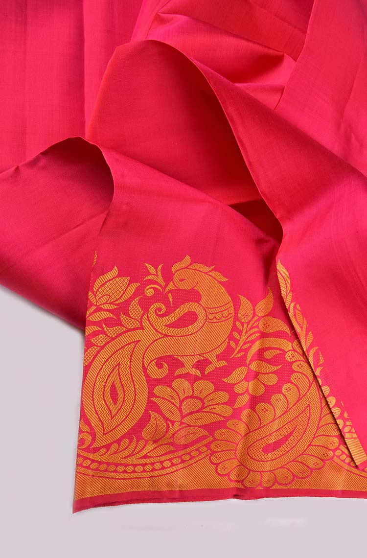 Ruby Pink Fancy Kanchipuram Pure Silk Saree - Silver and Gold Zari Peacock Embossed Design