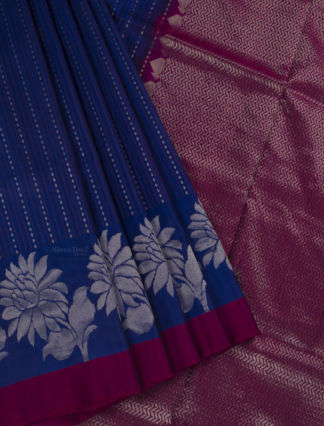 Royal Blue Pure Soft Silk Saree with Stripes Pattern