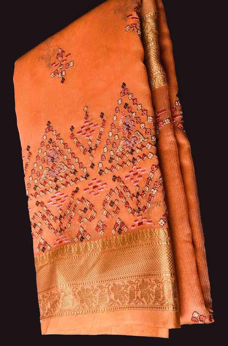 Orange Saree with Golden Border Manipuri Cotton Saree
