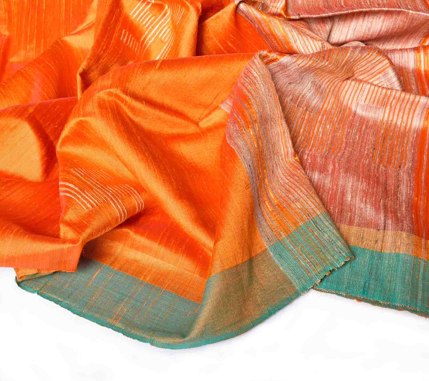 Orange with Green Jute Saree